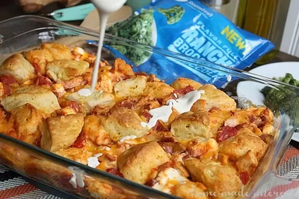 This tasty chicken casserole recipe is made with four of my favorite ingredients, rotisserie chicken ranch dressing, bacon, and biscuits!