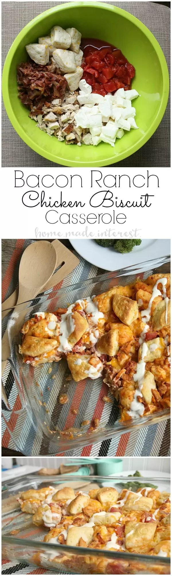 This tasty chicken casserole recipe is made with four of my favorite ingredients, rotisserie chicken, ranch dressing, bacon, and biscuits!