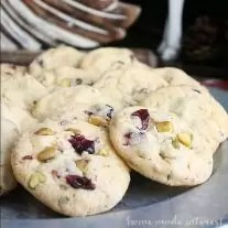 This easy Christmas cookie recipe is a simple sugar cookie packed with white chocolate, dried cranberries, and pistachios.