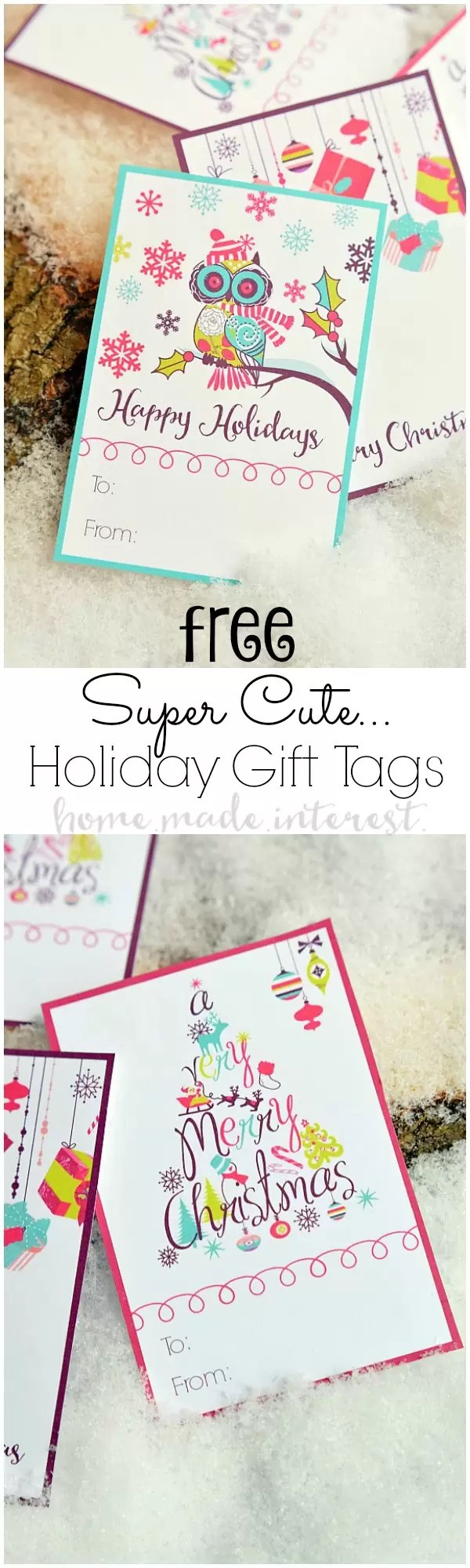 These free printable Christmas gift tags are a simple way to add a little color to your gift wrapping.