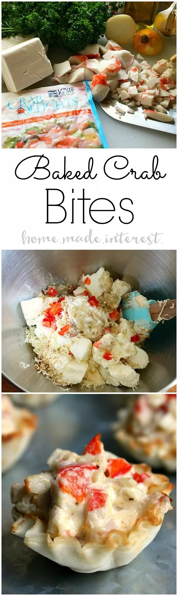 Baked Crab Bites are a simple seafood appetizer served in a crisp phyllo cup. They make a great New Year's Eve appetizer!