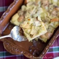 This make ahead egg nog french toast is a breakfast casserole that has all of the flavors of the holiday drink we all love, egg nog. A simple breakfast casserole recipe that is perfect for holiday breakfast or brunch.