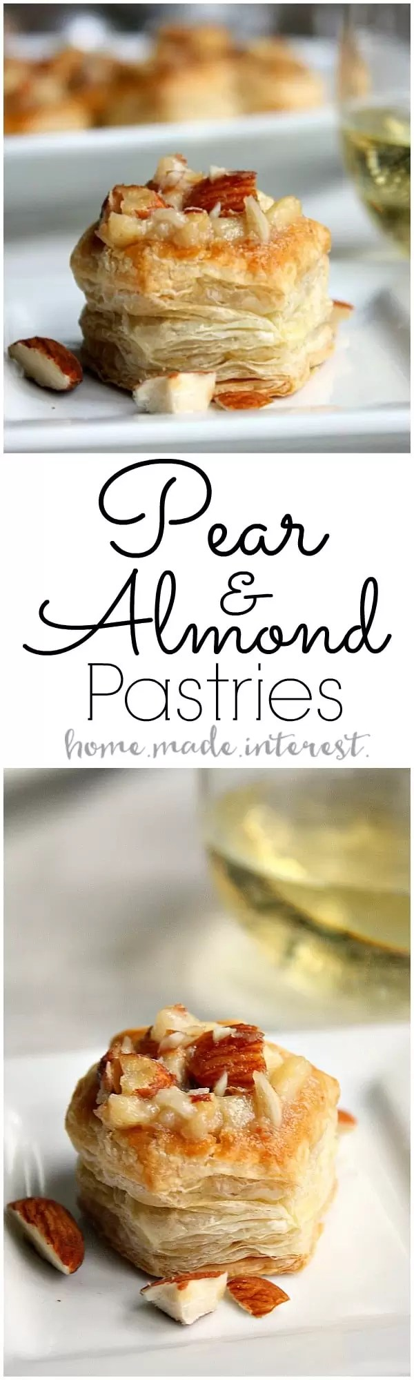 Our Wine Pairing Party was all about trying new foods and tasting new wines. These Pear and Almond Pastries paired with white wine perfectly! They were an easy bite size dessert that everyone loved!