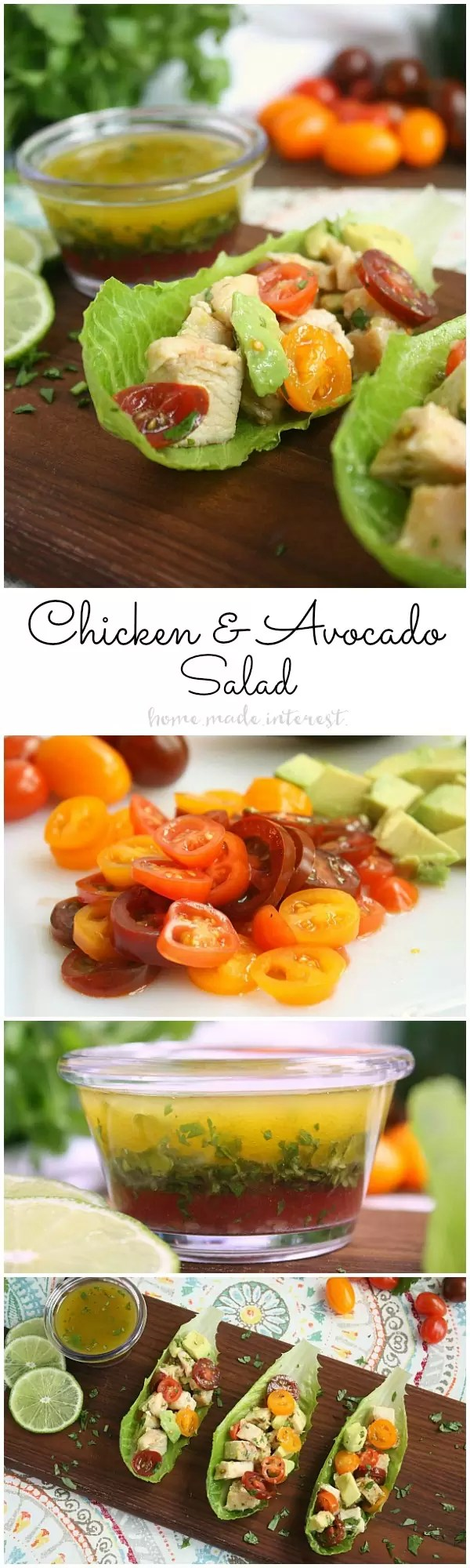 If you want a light, low carb lunch option this chicken and avocado salad is one of my favorites. Grilled, or baked chicken, fresh avocado and tomatoes, and a light lime cilantro vinaigrette, in a simple lettuce wrap makes the perfect lunch.