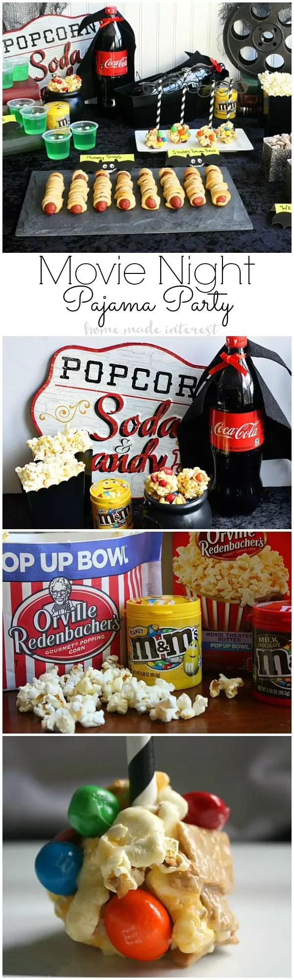 Pajama Party Movie Night - Put on your favorite PJs and grab some snacks, this Pajama party Movie night party with Hotel Transylvania 2 is the perfect way to entertain the kids when the weather gets cold and they can't go out and play. Sticky, salty and sweet S'Mores Popcorn balls are made with M&M's and movie theater microwave popcorn for the perfect movie night treat.