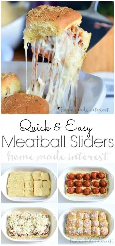 Pinterest image for Easy Meatball Sliders with title text