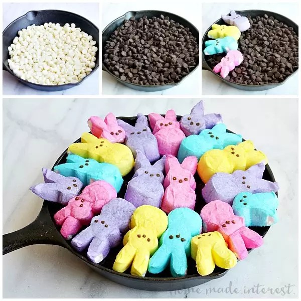 This easy Easter dessert recipe is made with two kinds of chocolate and bunny rabbit peeps, toasted up into an ooey gooey s'mores dip.