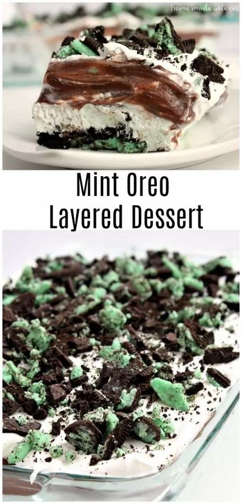 This Mint Oreo Lasagna is layers of Mint Oreo, chocolate pudding, cream cheese, and Cool whip that make a delicious no bake mint oreo layered dessert that is a fun recipe dessert recipe for St. Patrick's Day! #oreo #stpatricksday #pudding #mint #stpatricksdaydessert