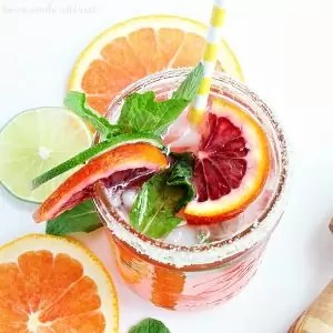 Top down view of Blood Orange Mojito