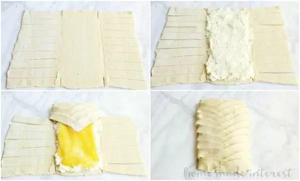 Steps for making a cheese danish braid