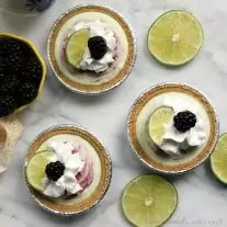 Nothing says summer like blackberries and lime. This easy no bake pie recipe is going to make a great snack for the kids or summer dessert for the family. Fresh blackberries, lime yogurt, and whipped cream in a mini graham cracker pie crust make this frozen summer dessert easy and delicious!