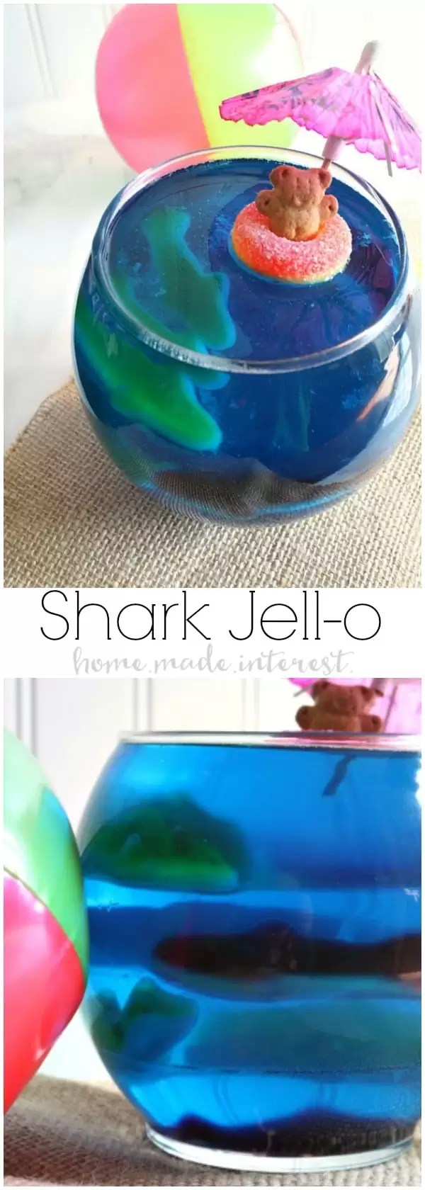 Get ready for Shark Week or celebrate a Shark birthday party with these fun Shark Jell-O bowls filled with gummy sharks! This is a great summer snack for kids!