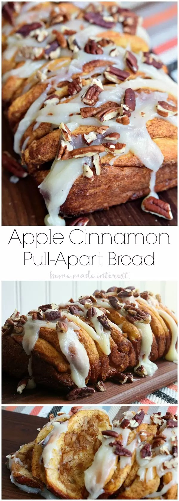 This apple cinnamon pull apart bread recipe is made extra easy because it uses canned biscuits. The biscuit dough is layered with apples, cinnamon, and sugar and baked until the flavors meld together into a sweet, spiced bread. This apple recipe is perfect for fall. Drizzle it with a cream cheese glaze and you have an easy fall dessert recipe that no one will be able to resist!
