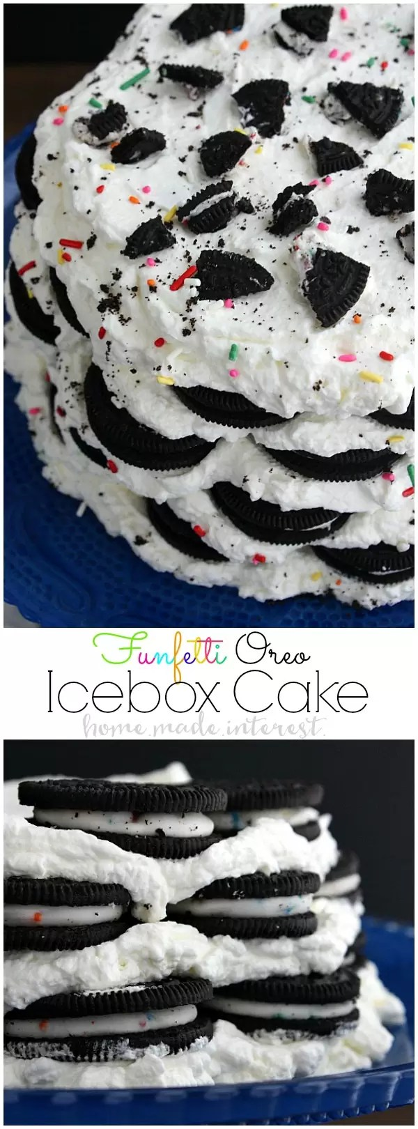 This Funfetti Oreo Icebox Cake is a no bake cake made with layers of whipped cream and Oreos. It is an easy cake recipe that everyone will love! I can't get enough Oreos so this is my favorite birthday cake recipe. We even have a quick and easy tutorial on how to make a cake stand from thrift store items. It is such a simple way to make a personalized birthday gift for a friend complete with an Oreo Icebox Cake on top!!