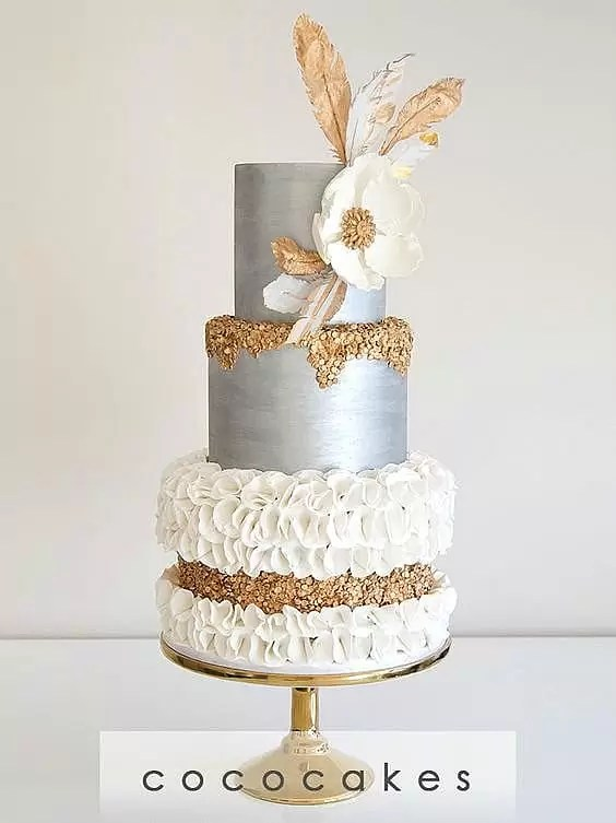 Gold Leaf Wedding Cakes - Home  Made  Interest