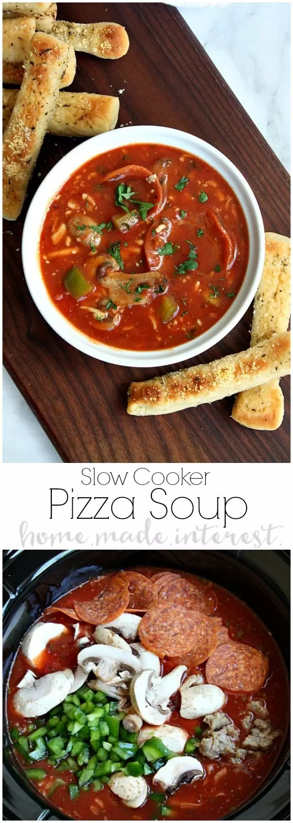 Put a new twist on family pizza night with this easy slow cooker soup recipe. Slow cooker pizza soup is a delicious crock pot tomato soup with all of the spices that give it that pizza sauce flavor. Add in stringy mozzarella cheese, and all of your favorite pizza toppings and you have a slow cooker soup recipe that the whole family will love.