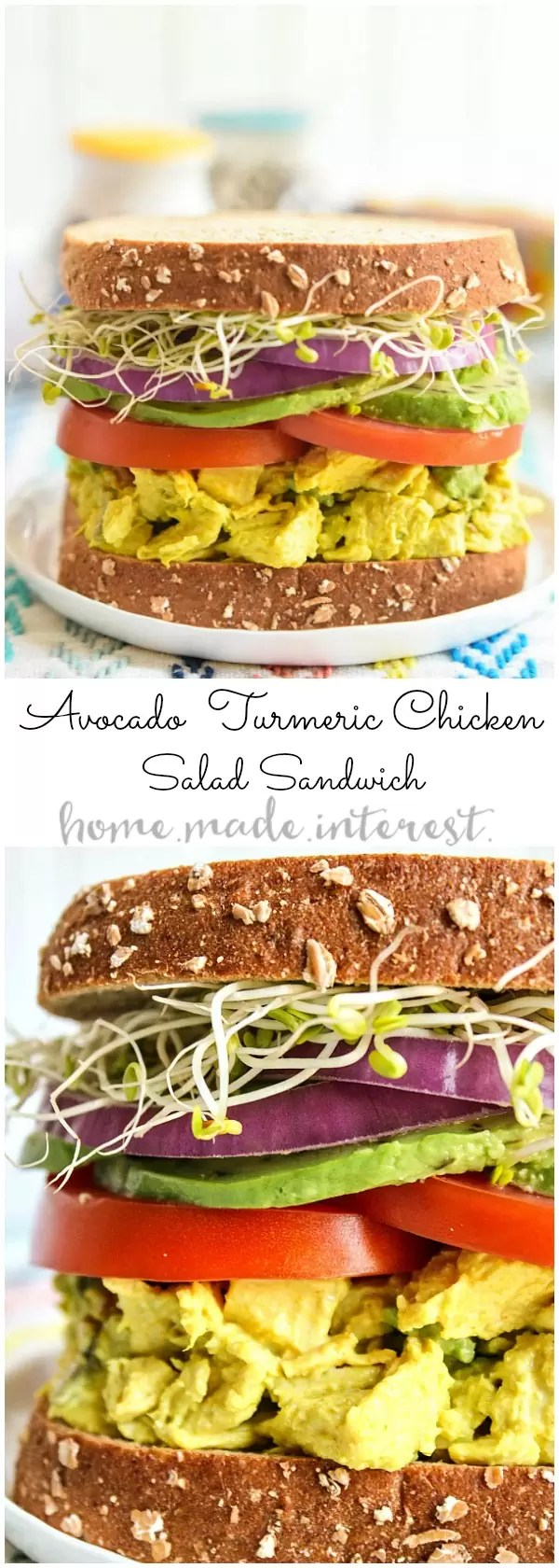 This wholesome sandwich is a healthy lunch recipe that is filled with flavor. The turmeric chicken salad base is mashed with avocados to make a creamy lunch salad that is healthy and full good fats. The avocado turmeric chicken salad is sandwiched between two pieces of sprouted bread for a filling lunch recipe!