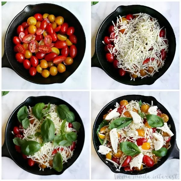Host a fun adult pizza party to celebrate the kids being back in school! Individual homemade pizzas, baked caprese dip with crostini, and a simple salad. The baked caprese dip is made with mozzarella cheese, fresh tomatoes, and leaves of basil all baked until it is bubbly and delicious. It is an easy way to gather with friends for good friends and food.