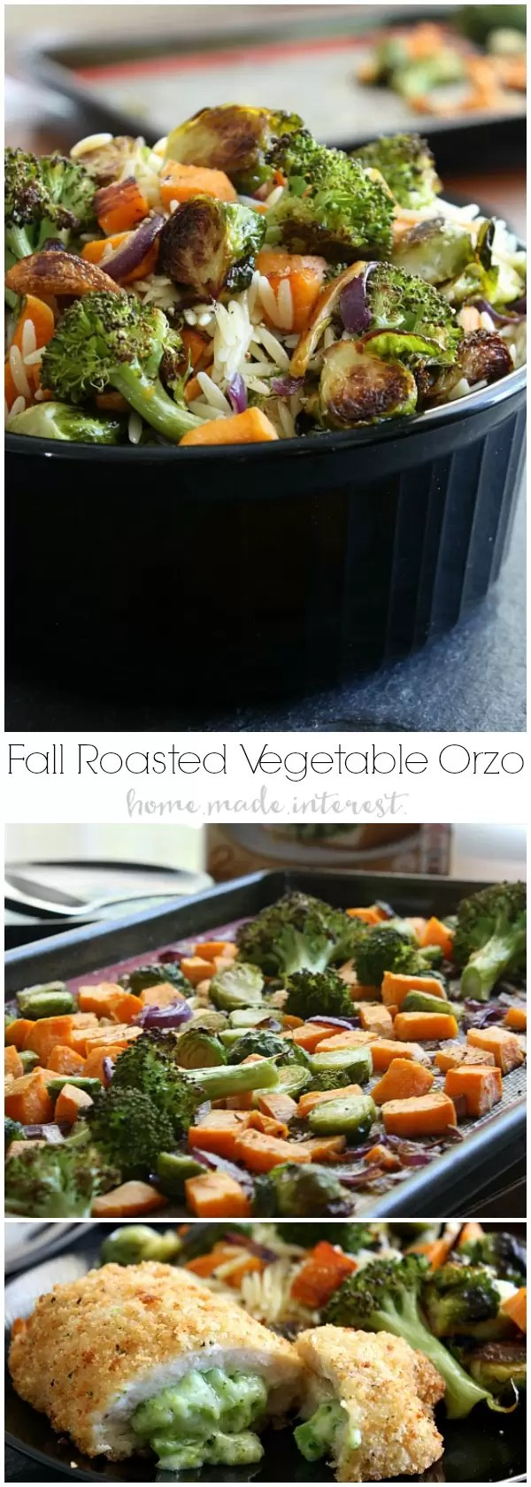 This Roasted Fall Vegetable Orzo is an easy pasta recipe that combines delicate orzo pasta with easy roasted fall vegetables. Cook sweet potatoes, brussels sprouts, and broccoli on a baking sheet in the oven and toss them with orzo for an easy fall recipe that will feed the whole family.