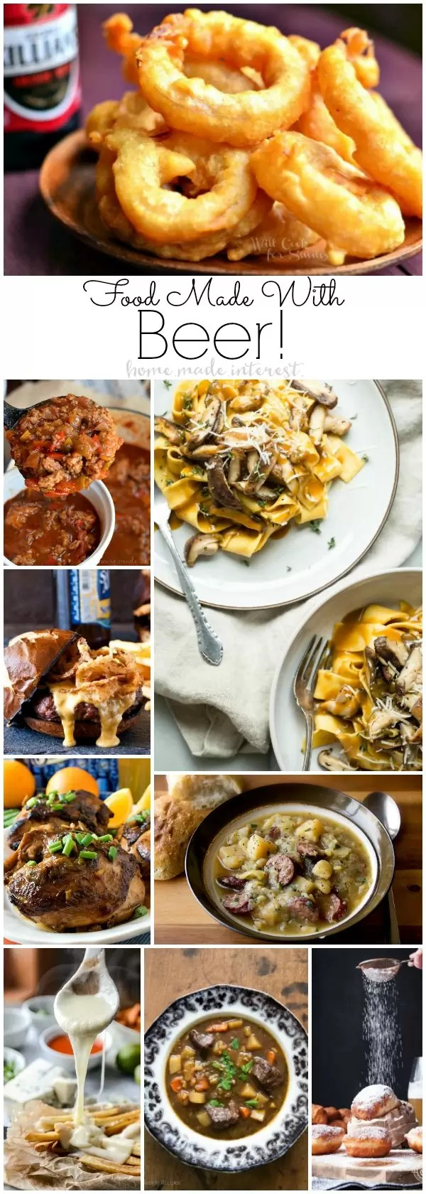 Recipes made with beer are great game day food, Oktoberfest parties or cozy autumn day. Food made with beer range from appetizers, slow cooker, crock pot recipes and even sweet desserts.