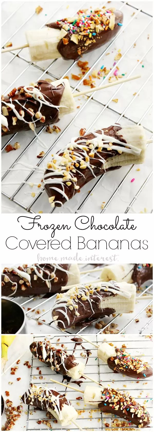 Frozen Chocolate Covered Bananas were always one of my favorite after school snacks and now my kids love this easy snack just as much as I do! This Frozen Chocolate Covered Bananas recipe is easy to make and your kids can have fun sprinkling them with their favorite toppings. Then freeze them for a frozen banana snack!