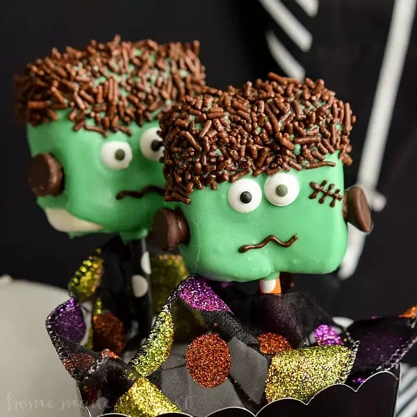 Frankenstein Marshmallow pops in a box