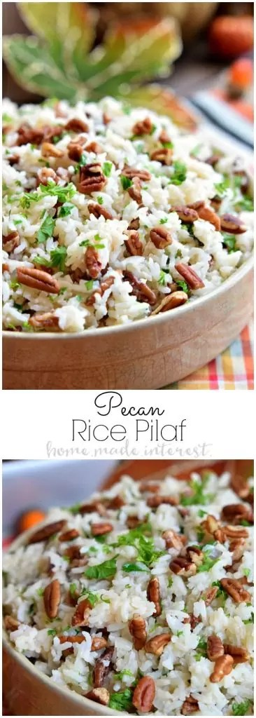 This Pecan Rice Pilaf recipe is an easy Thanksgiving side dish made with flavorful rice and buttery toasted pecans. A simple rice pilaf recipe for fall.