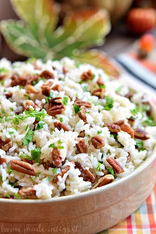 Rice pilaf cooked with pecans