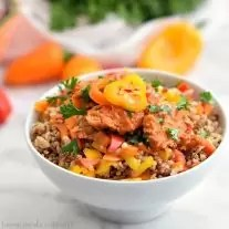 This Sweet and Spicy Salmon Rice Bowl recipe is a quick and easy healthy lunch recipe. The Salmon and Rice are mixed with bell peppers and coated in a chili lime sauce. Toss everything together for an on the go rice bowl recipe with a little bit of a kick!