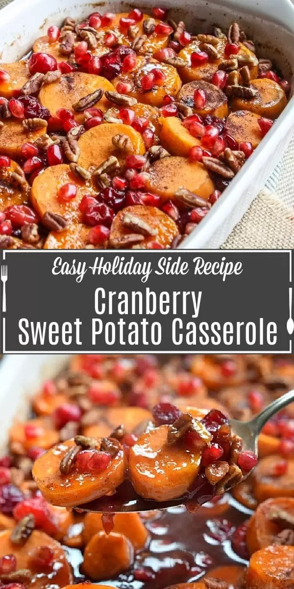 Pinterest image of Cranberry Sweet Potato Casserole with title text
