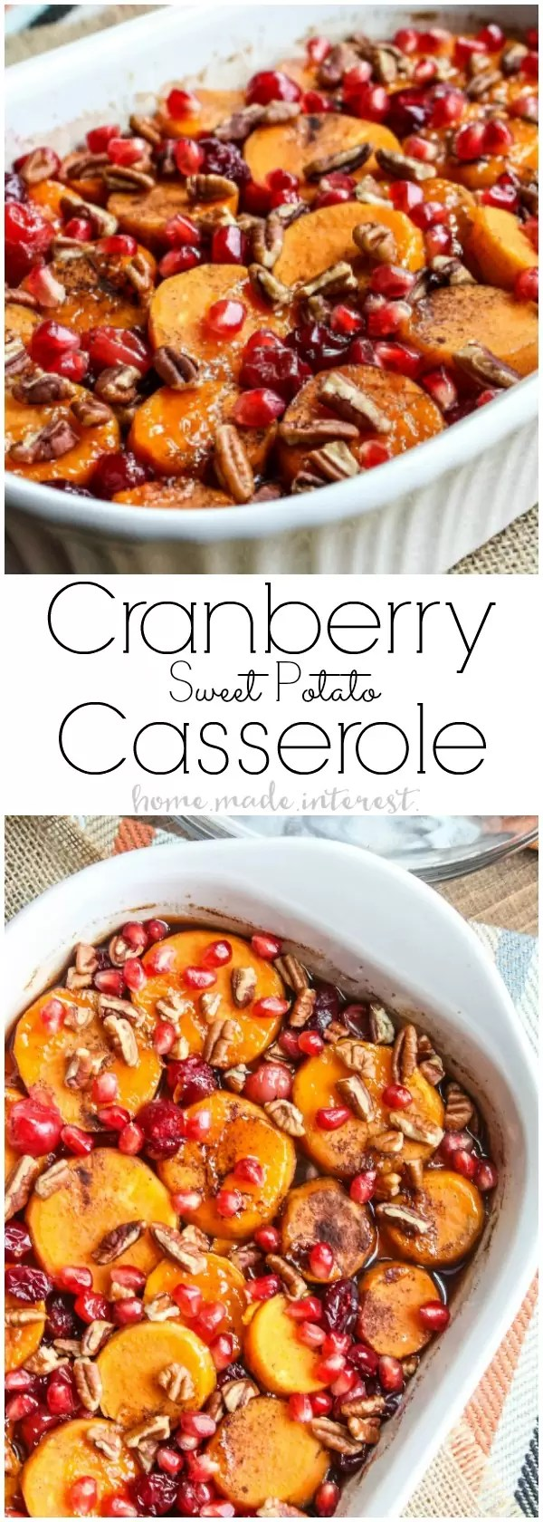 Layers of sweet potatoes, brown sugar, marshmallows, cranberries, pecan, and pomegranates make this Cranberry Sweet Potato Casserole perfect as a Thanksgiving side dish or a Christmas side dish. Everyone is going to love this easy sweet potato casserole recipe!