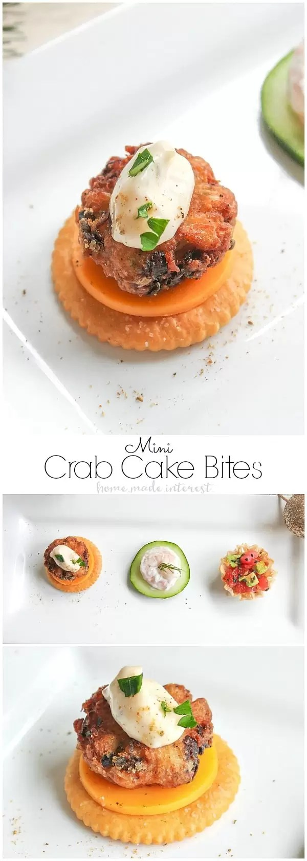 These Mini Crab Cake Bites are an easy appetizer recipe for Christmas or New Year's Eve. This elegant bite size appetizer is a mini crab cake served over cheddar cheese on a RITZ Crackers. Enjoy these crab cakes along with several other seafood appetizers for your New Year's Eve party.