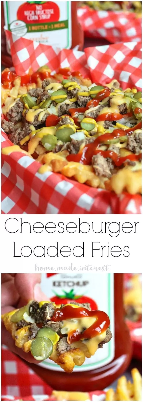 Loaded Cheeseburger Fries | These french fries are loaded with everything it takes to make a great cheeseburger. Ground beef, onions, pickles, cheese, and of course ketchup and mustard. Loaded Cheeseburger Fries are an awesome appetizer recipe for your next football party or a weeknight meal for the family. This loaded french fry recipe is going to blow your mind!