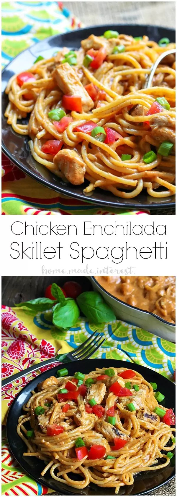 Chicken Enchilada Skillet Spaghetti   If you're looking for an easy skillet meal this Chicken Enchilada Skillet Spaghetti is what you need! It's an easy weeknight dinner recipe that kids and adults will love. Creamy enchilada sauce coating delicious chicken and spaghetti noodles topped with some of your favorite enchilada toppings. It's a chicken enchilada recipe and a spaghetti recipe all in one!