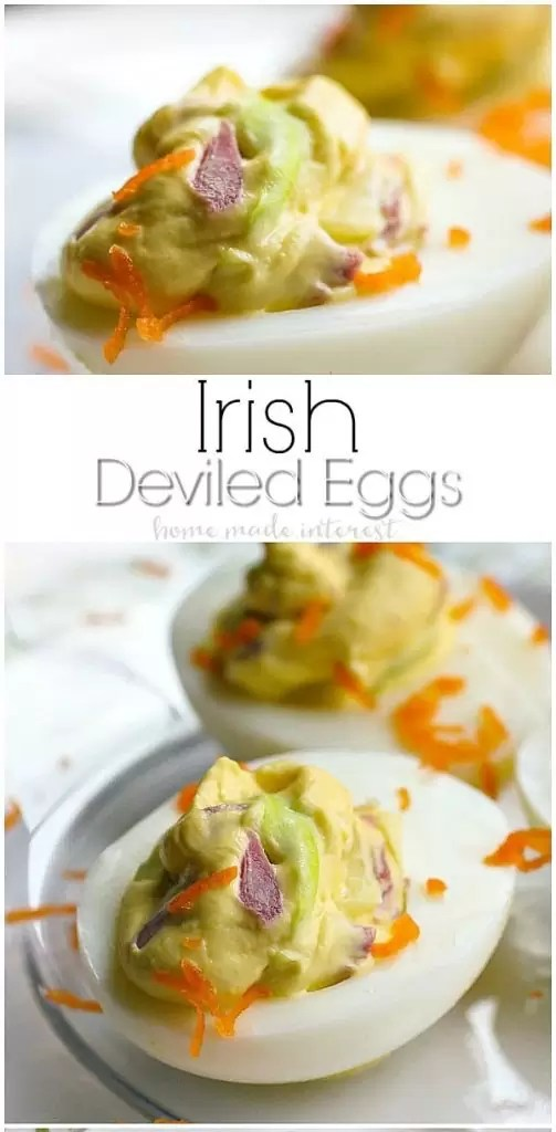 This deviled egg recipe is a fun twist on the classic St. Patrick's Day recipe corned beef and cabbage. Deviled eggs are an easy appetizer that make a great brunch recipe for spring. These Irish Deviled eggs are also the perfect low carb and keto recipe for St. Patrick's Day! #lowcarbrecipe #stpatricksday #ketorecipe #keto #deviledeggs #brunch #cornedbeef #homemadeinterest