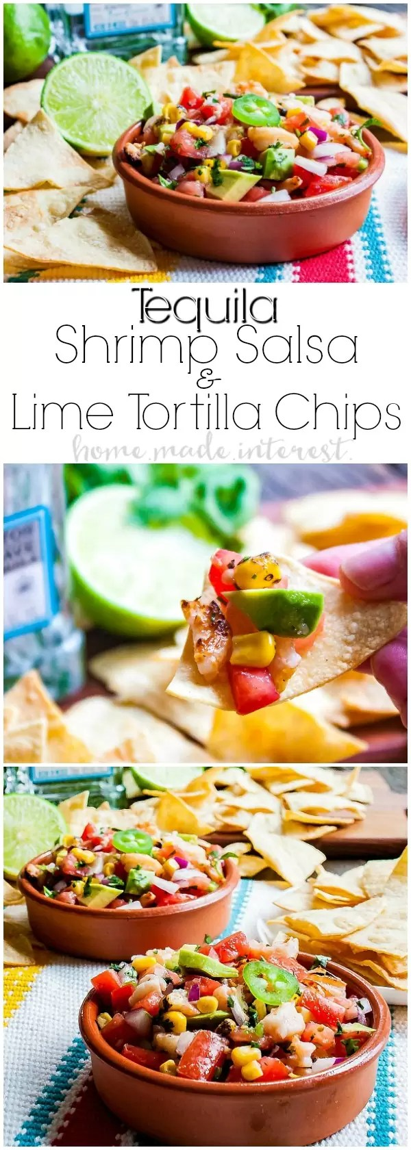 Tequila Shrimp Salsa with Tequila Lime Chips | This fresh salsa with grilled tequila shrimp is a perfect appetizer recipe for Cinco de Mayo. Tequila Shrimp Salsa with Tequila Lime Chips is made with fresh tomatoes, onions, jalapenos and cilantro tossed with grilled tequila shrimp. If you're looking for a salsa recipe for your Cinco de Mayo party you'll love this homemade salsa recipe!