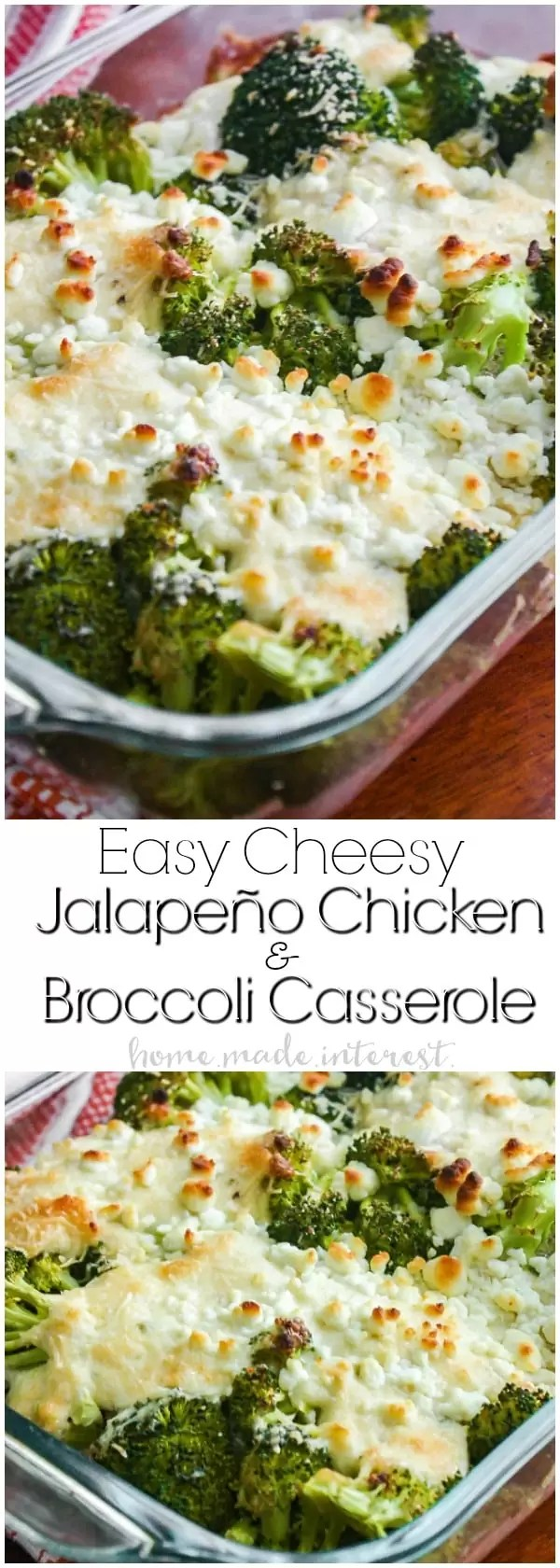 Easy Cheesy Jalapeno Chicken and Broccoli Casserole | This cheesy jalapeno chicken and broccoli casserole is an easy low carb dinner recipe that is packed full of flavor. If you are looking for a low carb recipe idea you'll love this low carb casserole. It is a great easy weeknight dinner recipe that the whole family will love.