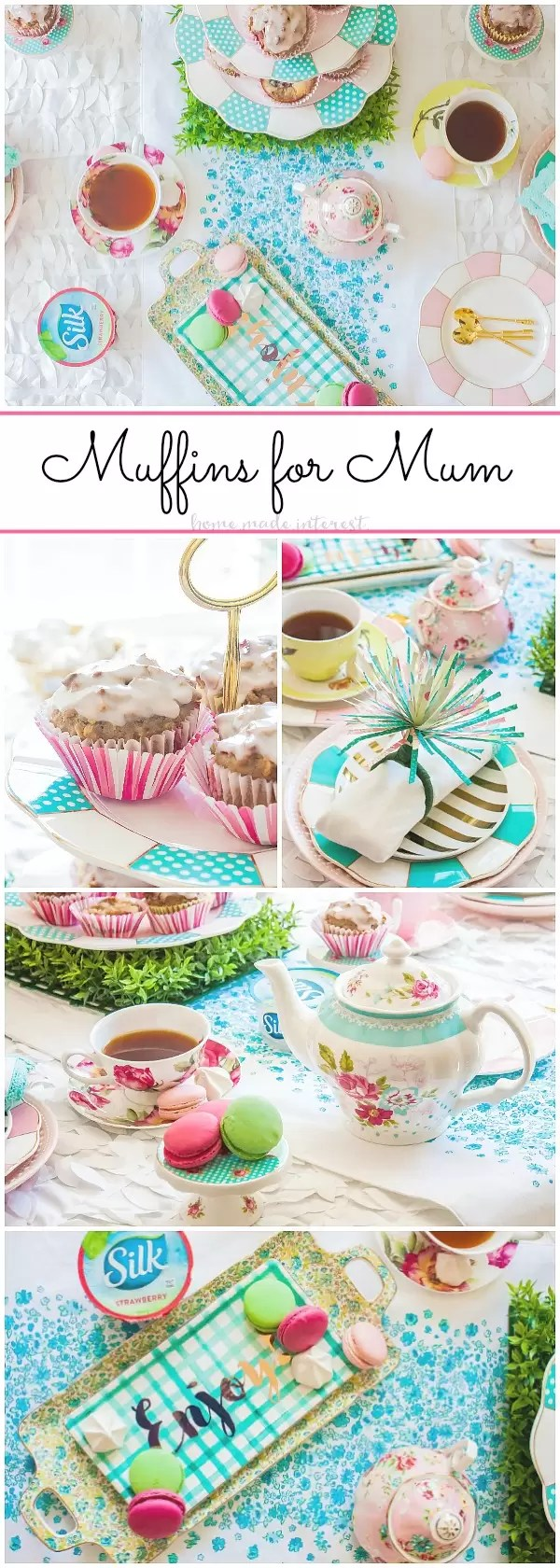 Muffins for Mum Mother's Day Brunch | Celebrate Mother's Day with a simple brunch including dairy free muffins for mom! These easy dairy free muffins were simple to make and they were delicious! This beautiful spring party idea is a tea party themed Mother's Day brunch. It is a fun way to thank your mom for everything she does. We've got an easy paper flor tutorial showing you how to turn paper into beautiful napkin rings!