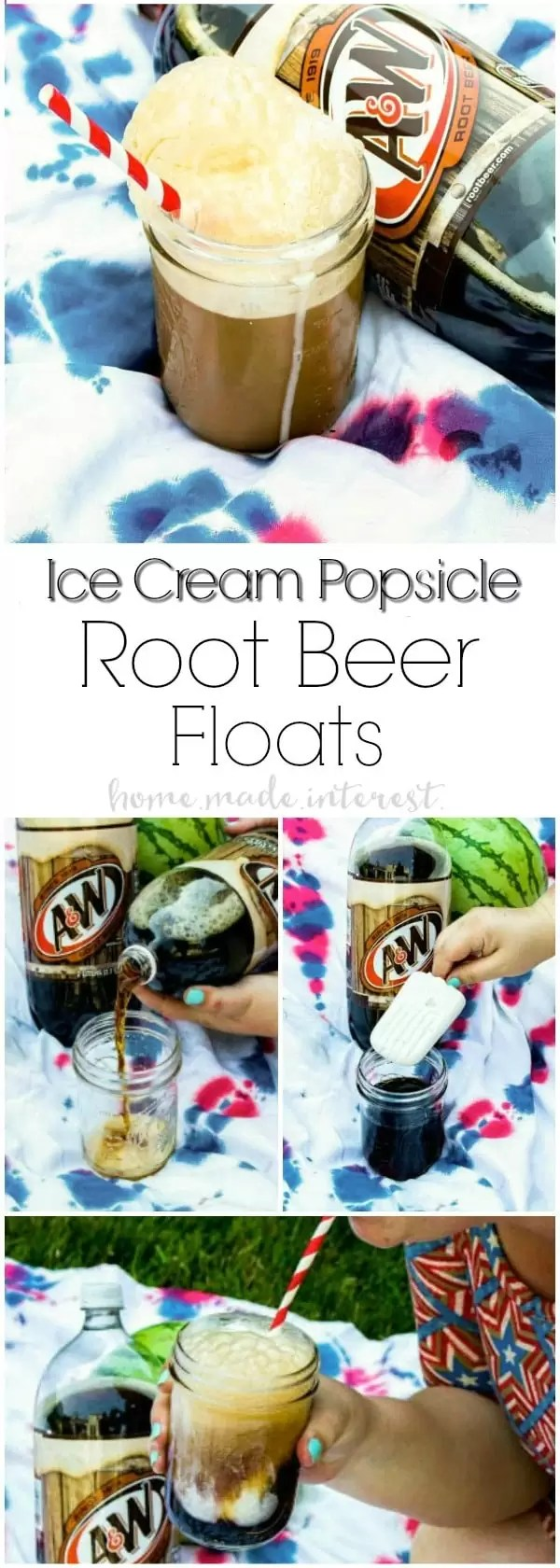 Ice Cream Popsicle Root Beer Floats   Make root beer floats even easier with these Ice Cream Popsicle Root Beer Floats. Vanilla ice cream popsicles make root beer floats simple and fun! This root beer float recipe is a great summer dessert or a 4th of July dessert recipe that friends and family can enjoy on the go!