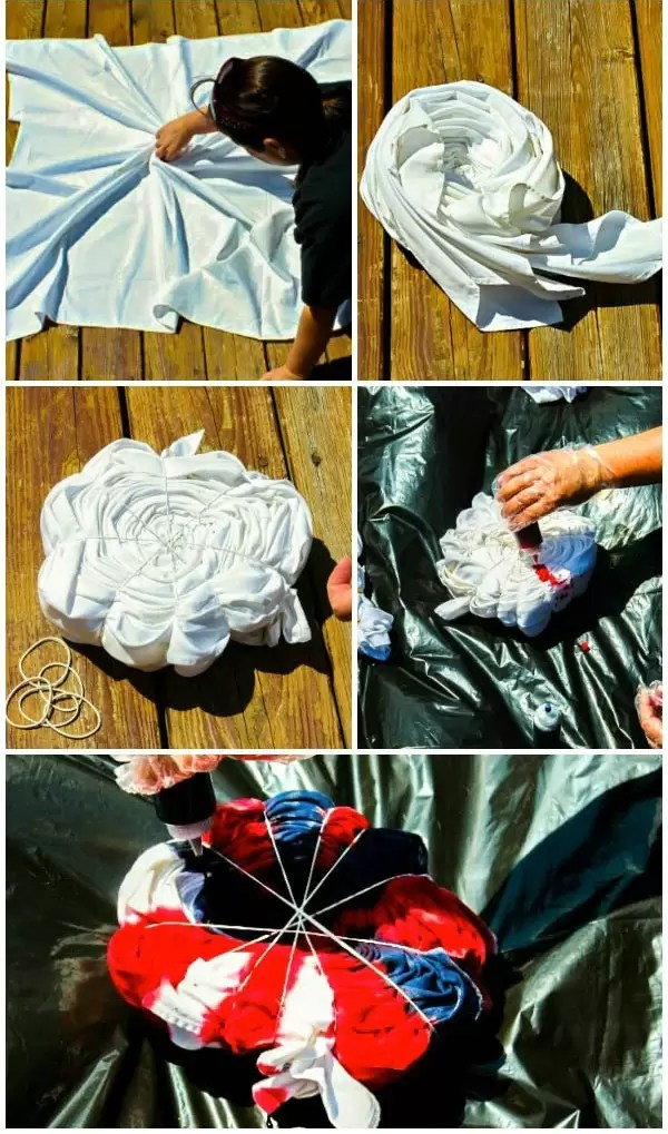 Steps for tie-dying a patriotic red, white, and blue picnic blanket.