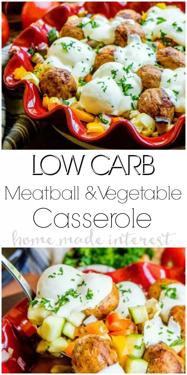 Low Carb Meatball and Vegetables Casserole   If you are eating low carb and are looking for an easy low carb recipe that makes a great low carb dinner this low carb meatball and vegetables casserole is the answer. This low carb casserole is made in under 30 minutes and is chocked full of delicious summer vegetables and low carb meatballs.