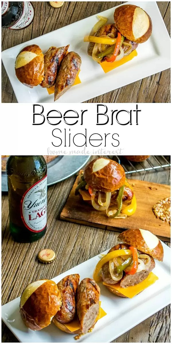 Beer Brat Sliders | If you're looking for the best grill recipe I've got your covered. These Beef Brat Sliders are the best summer party food and they are an amazing way to use grilled bratwurst all summer long. These brats are infused with beer and served on a pretzel bun with beer braised onions and cheddar cheese. This is an easy slider recipe that is perfect for game day parties and makes great football party food.