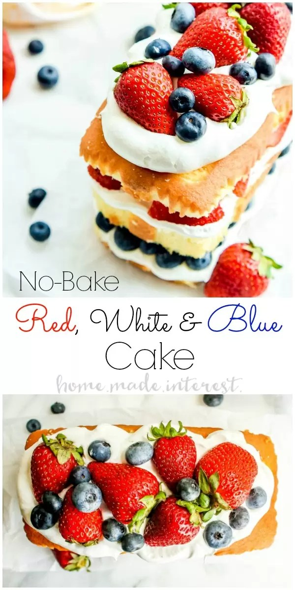 No Bake Red White and Blue Cake | This easy no bake red white and blue cake is a 4th of July dessert recipe that you don't want to miss. This no bake cake recipe is filled with whipped cream and fresh summer berries for a summer dessert recipe that everyone will love. Make this as a Memorial Day dessert recipe or Labor Day dessert recipe too.
