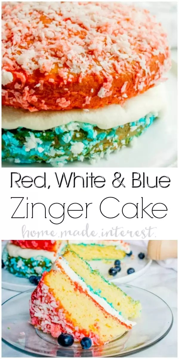 Red, White, and Blue Zinger Cake | This patriotic cake is the BEST 4th of July dessert recipe, Memorial Day dessert recipe, or Labor Day dessert recipe. This easy Red, White, and Blue Zinger cake is covered in shredded coconut and filled with a marshmallow cream to make a beautiful red, white, and blue dessert for the 4th of July!