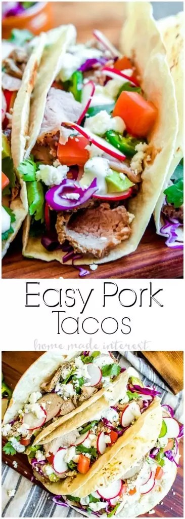 Pork Tacos | Pork tenderloin and fresh ingredients make these easy Pork Tacos a great back-to-school dinner recipe for busy weeknights! If you're looking for a quick dinner recipe make these pork tacos.
