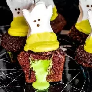 Halloween Chocolate cupcakes with ghost