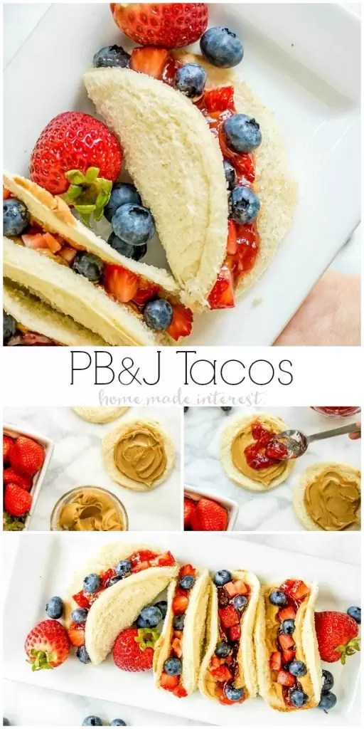 Peanut Butter and Jelly Tacos | This is a fun lunchbox idea for kids. This back to school recipe is so much fun. Peanut Butter and Jelly Tacos take all of the ingredients of a PB&J sandwich and turn them into a fun taco! This is a lunch recipe for kids that makes a great school lunch idea. Keep the kids from getting bored with this creative lunch idea!