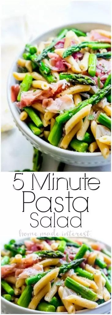 Easy Italian Pasta Salad | This light and fresh pasta salad recipe is made with salty prosciutto and steam asparagus tossed in a homemade vinaigrette. This healthy pasta salad is made in 5 minutes for a quick and easy lunch recipe or a quick and easy dinner recipe.
