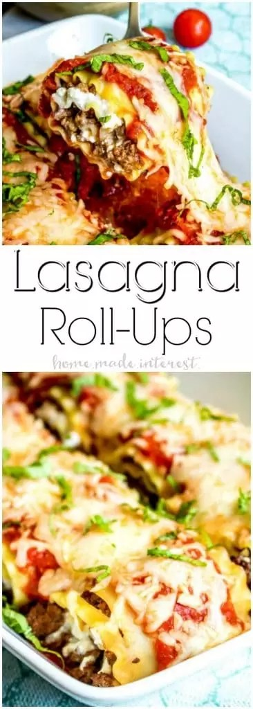 Lasagna Roll Ups | These Lasagna Roll Ups are an easy make ahead dinner idea. This lasagna roll up recipe is based on my mom's lasagna with cottage cheese recipe. If you are looking for an easy lasagna recipe to make for friends and family these lasagna roll ups are perfect for serving a crowd.