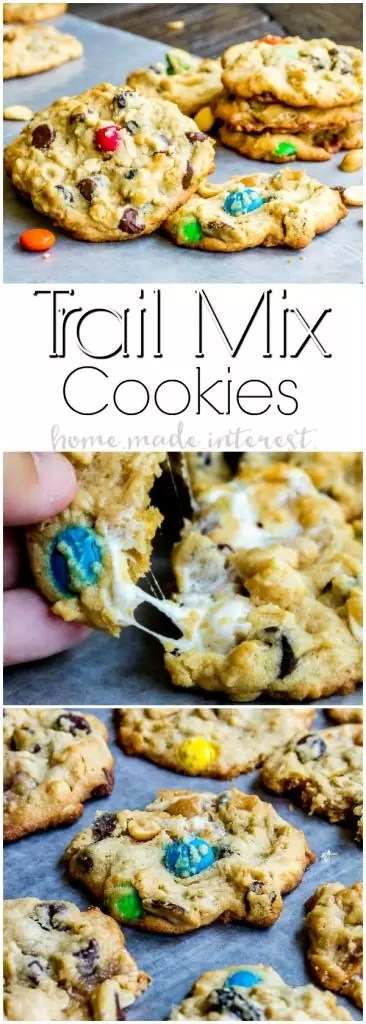 Trail Mix Cookies | This easy cookie recipe is perfect for back-to-school lunches and afters chool snacks. Trail Mix Cookies are packed full of ingredients like trail mix, oatmeal, and chocolate chips. These are the ultimate spin on a chocolate cookie recipe!